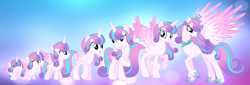 Size: 3736x1276 | Tagged: safe, artist:zelanamlp, princess flurry heart, alicorn, pony, adult, age progression, baby, baby pony, female, filly, foal, mare, older, older flurry heart, solo, teenager, ultimate flurry heart