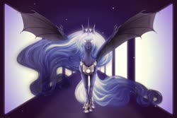 Size: 1280x854 | Tagged: safe, artist:dementra369, princess luna, alicorn, pony, alternate hairstyle, cloven hooves, ethereal mane, female, hoers, hybrid wings, looking at you, mare, solo, space, spread wings, stars, white eyes, wing claws, wings