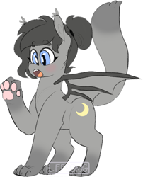 Size: 685x848 | Tagged: safe, artist:liefsong, oc, oc only, oc:crescent, beanbrows, cutie mark, eyebrows, fangs, hair bun, patreon, paws, simple background, species swap, surprised, watermark