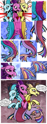 Size: 1500x3900 | Tagged: safe, artist:nancy-05, adagio dazzle, aria blaze, sonata dusk, oc, oc:melicus ostium, siren, comic:fusing the fusions, comic:time of the fusions, argument, blushing, chest, comic, commissioner:bigonionbean, confusion, conjoined, dialogue, dungeon, evil planning in progress, female, forced, fused, fusion, fusion:melicus ostium, gem, heat, jewelry, magic, merge, multiple heads, panting, prison, regalia, shocked, siren gem, spell, tartarus, three heads, we have become one, writer:bigonionbean