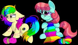 Size: 1280x750   Tagged: safe, artist:rainbowtashie, posey shy, windy whistles, oc, oc:gentle breeze, oc:rainbow tashie, earth pony, pegasus, pony, clothes, collar, commissioner:bigonionbean, cute, female, frustrated, funny, fusion, fusion:gentle breeze, glasses, knitting, knitting needles, mare, nintendo 64, scarf, simple background, tangled up, transparent background, writer:bigonionbean, yarn