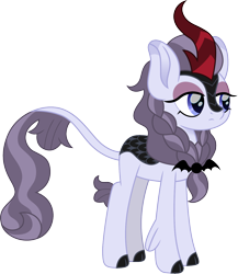 Size: 1214x1400 | Tagged: safe, artist:cloudyglow, inky rose, kirin, eyeshadow, female, kirin-ified, lidded eyes, makeup, simple background, solo, species swap, transparent background, unamused