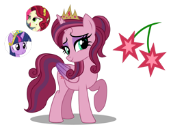 Size: 1280x968 | Tagged: safe, artist:tenderrain46, cherry jubilee, twilight sparkle, oc, alicorn, pony, alicorn oc, base used, big crown thingy, crown, element of magic, female, jewelry, magical lesbian spawn, mare, offspring, parent:cherry jubilee, parent:twilight sparkle, regalia, simple background, transparent background