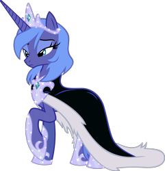 Size: 5545x5751   Tagged: safe, artist:tales-fables, princess luna, alicorn, pony, absurd resolution, base used, cloak, clothes, crown, female, jewelry, mare, regalia, s1 luna, simple background, solo, story included, transparent background, vector