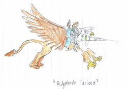 Size: 1280x897 | Tagged: safe, artist:horsesplease, gilda, human, chinese, female, flying, italian, knight, lance, lined paper, male, orlando furioso, pidge, prince, traditional art, unamused, voltron, voltron legendary defender, weapon