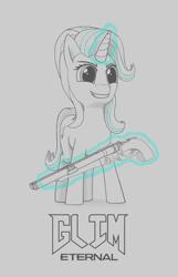 Size: 1130x1753 | Tagged: safe, artist:tirilka, starlight glimmer, pony, unicorn, crossover, doom, doom eternal, double barreled shotgun, glowing horn, grin, gun, horn, monochrome, shotgun, smiling, solo, starlight glimmer day, weapon