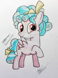 Size: 900x1200   Tagged: safe, artist:foxiny, cozy glow, pony, cozybetes, cute, solo, traditional art