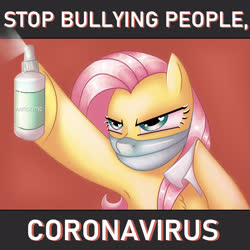 Size: 2894x2894   Tagged: safe, artist:ericsson, fluttershy, pegasus, pony, angry, antisepticeye, armpits, bully, bullying, coronavirus, covid-19, female, hoof hold, medicine, napkin, people, serious, serious face, solo, stop, surgical mask, wet napkin, wingding eyes