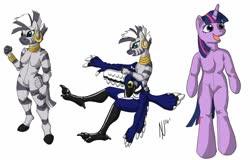 Size: 1280x819 | Tagged: safe, artist:dombrus, twilight sparkle, zecora, zebra, clopfic in description, furry, fursuit, layers, ponysuit, simple background, story included, tl;dr, white background