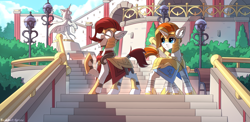Size: 2080x1019 | Tagged: safe, artist:redchetgreen, oc, oc only, oc:sovereign, oc:terracotta, earth pony, pony, unicorn, armor, bandage, bench, bush, commission, curious, detailed background, duo, happy, helmet, looking at something, looking back, male, open mouth, raised hoof, royal guard, scenery, stairs, stallion, standing, ych result