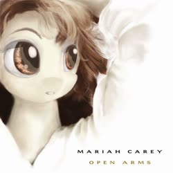 Size: 1248x1248 | Tagged: safe, artist:eris azure, oc, oc only, earth pony, pony, '90s, album, album cover, brown eyes, brown mane, eyebrows, eyeshadow, female, hair, makeup, mane, mariah carey, open arms, solo, song