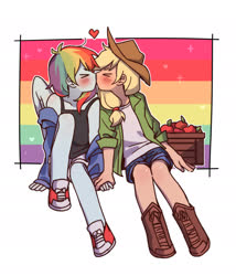 Size: 2048x2389 | Tagged: safe, artist:dcon, applejack, rainbow dash, equestria girls, apple, appledash, blushing, converse, female, food, heart, kissing, lesbian, pride, shipping, shoes