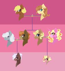 Size: 1841x2021 | Tagged: safe, artist:kiwigoat-art, button mash, luster dawn, silver spoon, oc, oc:cream heart, oc:gray scale, oc:tetris, earth pony, pony, unicorn, family tree, next generation, offspring, parent:button mash, parent:luster dawn, parent:oc:cream heart, parent:silver spoon, parents:canon x oc, parents:silvermash, silvermash, solo