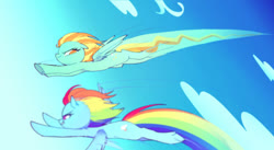 Size: 500x274 | Tagged: safe, artist:kkmrarar, lightning dust, rainbow dash, pegasus, pony, wonderbolts academy, cloud, female, flying, mare, racing, sky, smiling, spread wings, wings
