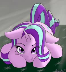 Size: 1200x1300 | Tagged: safe, artist:llametsul, starlight glimmer, unicorn, bedroom eyes, behaving like a cat, butt shake, crouching, cute, eyelashes, eyeshadow, female, floppy ears, glimmerbetes, horn, indoors, looking at you, makeup, mare, pounce, shaking, solo
