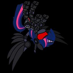 Size: 2000x2000 | Tagged: safe, artist:christiancerda, twilight sparkle, alicorn, pony, robot, robot pony, my little portal, portal (valve), roboticization, simple background, transparent background, upside down, vector