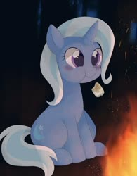 Size: 906x1162 | Tagged: safe, alternate version, artist:tstivv, trixie, pony, unicorn, :t, blushing, cute, diatrixes, eating, female, fireplace, food, glowing horn, horn, mare, marshmallow, sitting, smiling, solo