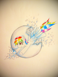 Size: 1920x2560 | Tagged: safe, artist:stardust0130, rainbow dash, pegasus, pony, broken, female, flying, mare, shattered, simple background, solo, sphere, traditional art, wings