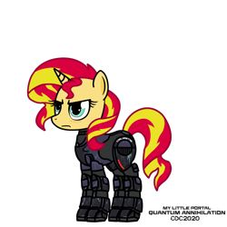 Size: 1024x1024 | Tagged: safe, artist:christiancerda, sunset shimmer, unicorn, armor, my little portal, portal (valve), simple background, transparent background, vector