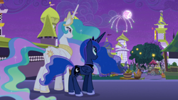 Size: 1920x1080 | Tagged: safe, screencap, princess celestia, princess luna, alicorn, pony, the summer sun setback, canterlot, crown, duo, duo female, female, fireworks, folded wings, grin, jewelry, looking up, moon, night, regalia, siblings, sisters, smiling, tree, wings