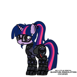 Size: 1024x1024 | Tagged: safe, artist:christiancerda, sci-twi, twilight sparkle, unicorn, armor, glasses, my little portal, portal (valve), simple background, transparent background, unicorn twilight, vector