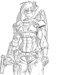 Size: 655x829 | Tagged: artist needed, source needed, safe, rainbow dash, anthro, abs, alternate timeline, amputee, apocalypse dash, armor, artificial wings, augmented, clothes, crystal war timeline, gloves, gun, lineart, monochrome, muscles, prosthetic limb, prosthetic wing, prosthetics, rainbuff dash, sketch, solo, torn ear, uniform, weapon, wings