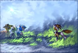 Size: 2560x1737 | Tagged: safe, artist:ramiras, oc, oc:calamity, oc:homage, oc:littlepip, oc:velvet remedy, pegasus, pony, unicorn, fallout equestria, balefire, book cover, clothes, cover, fanfic art, female, fire, male, mare, stallion, vault suit