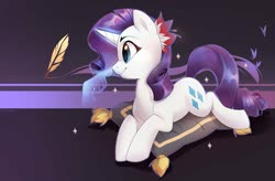 Size: 2996x1966 | Tagged: safe, artist:makaronder, rarity, butterfly, pony, unicorn, boop, cushion, cute, disembodied hand, female, flower, flower in hair, glowing horn, hand, horn, magic, magic hands, mare, profile, prone, quill, raribetes, self-boop, solo