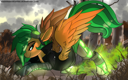 Size: 1920x1200 | Tagged: safe, artist:brainiac, oc, oc only, oc:atom smasher, cyborg, pegasus, pony, amputee, clothes, fanart, female, goggles, grass, jacket, mare, outdoors, prosthetic leg, prosthetic limb, prosthetics, solo, tree