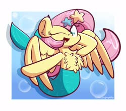 Size: 1920x1694   Tagged: safe, artist:kimjoman, fluttershy, merpony, starfish, bubble, chest fluff, cute, female, looking at you, one eye closed, open mouth, pose, shyabetes, smiling, solo, species swap, spread wings, three quarter view, wings, wink
