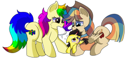 Size: 1280x617 | Tagged: safe, artist:rainbowtashie, braeburn, wind waker (character), oc, oc:rainbow tashie, oc:spicy cider, oc:tommy the human, alicorn, earth pony, pegasus, pony, alicorn oc, australia, australian, clothes, colt, commissioner:bigonionbean, cowboy hat, cutie mark, dawwww, female, fusion, fusion:spicy cider, hat, in pain, jumpsuit, male, mare, nintendo 64, sad, sick, simple background, stallion, suffering, towel, transparent background, worried, writer:bigonionbean