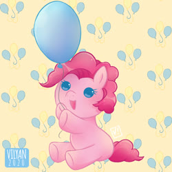 Size: 885x885 | Tagged: safe, artist:vilyann, pinkie pie, earth pony, pony, baby, baby pie, baby pinkie pie, baby pony, balloon, cute, cutie mark, cutie mark background, diapinkes, hoof hold, open mouth, part of a set, sitting, solo, younger