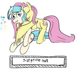 Size: 649x584 | Tagged: safe, artist:cammy, coco pommel, fluttershy, earth pony, pegasus, pony, /mlp/, 4chan, drawthread, duo, hug, text, winghug