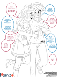 Size: 3300x4450 | Tagged: safe, artist:pshyzomancer, rainbow dash, sunset shimmer, equestria girls, clothes, commission, converse, cup, dress, football jersey, high heels, holiday, implied lesbian, implied scitwishimmer, implied shipping, implied sunsetsparkle, johnny lujack, notre dame, patreon, patreon logo, saint patrick's day, shoes