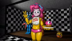 Size: 2720x1530 | Tagged: safe, artist:fazbearsparkle, pinkie pie, equestria girls, 3d, animatronic, clothes, costume, cupcake, five nights at freddy's, five nights at freddy's 2, fnaf 2, food, freddy, freddy fazbear's pizzeria, looking at you, not amused face, source filmmaker, suit, toy bonnie, toy chica, toy freddy