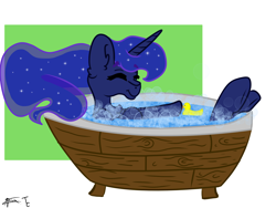 Size: 4000x3000 | Tagged: safe, artist:minty joy, artist:twistcable, princess luna, alicorn, pony, bath, bathtub, rubber duck, solo
