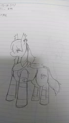 Size: 1152x2048 | Tagged: safe, artist:omegapony16, oc, oc only, oc:oriponi, bat pony, pony, armor, bat pony oc, bat wings, female, japanese, lineart, lined paper, mare, solo, text, traditional art, wings