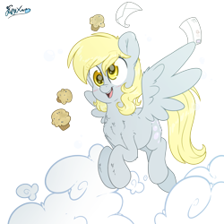 Size: 3500x3500   Tagged: safe, artist:fluffyxai, derpy hooves, pegasus, pony, bubble, cute, derpabetes, derpy day, derpy day 2020, female, flying, food, letter, male, mare, muffin, simple background, smiling, transparent background