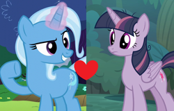 Size: 1454x928 | Tagged: safe, edit, edited screencap, screencap, mean twilight sparkle, trixie, the mean 6, uncommon bond, female, lesbian, mean twixie, shipping, shipping domino, twixie