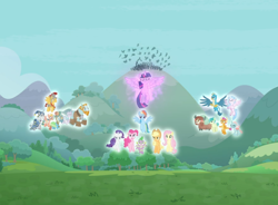 Size: 1146x844 | Tagged: safe, screencap, applejack, flash magnus, fluttershy, gallus, meadowbrook, mistmane, ocellus, pinkie pie, rainbow dash, rarity, rockhoof, sandbar, silverstream, smolder, somnambula, spike, star swirl the bearded, twilight sparkle, yona, alicorn, dragon, the ending of the end, cropped, floating, glow, magic of friendship, mane seven, mane six, pillars of equestria, spread wings, student six, triumphant, twilight sparkle (alicorn), winged spike, wings