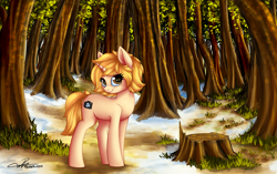 Size: 4500x2823 | Tagged: safe, artist:supermoix, oc, oc only, oc:pia, pony, unicorn, beautiful, complex background, cute, female, forest, forest background, grass, mare, scenery, scenery porn, solo, tree stump