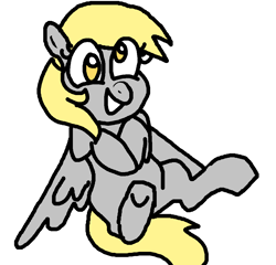 Size: 1084x1040 | Tagged: safe, artist:smirk, derpy hooves, pegasus, pony, cute, female, mare, ms paint, simple background, smiling, solo, white background