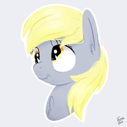 Size: 2000x2000   Tagged: safe, artist:squeaky-belle, derpy hooves, pegasus, pony, bust, chest fluff, derpy day, derpy day 2020, ear fluff, scrunchy face, signature, simple background, white outline