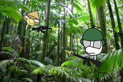 Size: 1612x1079 | Tagged: safe, artist:coffeeponee, surprise, pony, ak-47, american, assault rifle, barely pony related, gun, jungle, m16, rifle, shitposting, soldier, tree, vietcong, vietnam, war, weapon