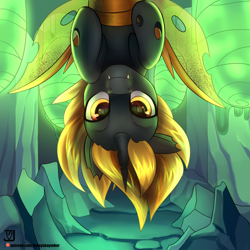 Size: 2000x2000   Tagged: safe, artist:jedayskayvoker, oc, oc only, oc:accord rash, changeling, changeling oc, green background, high res, hive, looking at you, male, patreon, patreon reward, simple background, smiling, solo, upside down, yellow changeling