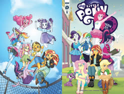 Size: 1318x1000 | Tagged: safe, artist:pencils, artist:tonyfleecs, idw, applejack, fluttershy, pinkie pie, rainbow dash, rarity, sci-twi, spike, spike the regular dog, sunset shimmer, twilight sparkle, dog, equestria girls, spoiler:comic, armpits, comic, converse, geode of shielding, humane five, humane seven, humane six, magical geodes, march radness, official, shoes