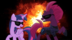 Size: 3840x2160 | Tagged: safe, artist:ejlightning007arts, tempest shadow, twilight sparkle, alicorn, unicorn, armor, badass, broken horn, cool guys don't look at explosions, explosion, female, horn, lesbian, mare, open mouth, raised hoof, shipping, sunglasses, tempestlight, together, twilight sparkle (alicorn), wallpaper
