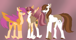 Size: 4348x2293   Tagged: safe, alternate version, artist:clay-bae, pipsqueak, scootaloo, oc, oc:camo feather, earth pony, pegasus, pony, feathered fetlocks, female, high res, male, offspring, parent:pipsqueak, parent:scootaloo, parents:scootasqueak, scootasqueak, shipping, straight