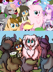 Size: 1030x1390 | Tagged: safe, artist:spheedc, oc, oc only, oc:fluffle puff, oc:sphee, earth pony, semi-anthro, derpibooru community collaboration, :p, clothes, digital art, female, filly, glasses, mare, thought bubble, tongue out