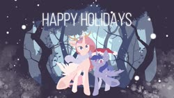 Size: 1920x1080 | Tagged: artist needed, safe, oc, oc only, oc:iris, oc:lilyana, alicorn, pony, alicorn oc, antlers, christmas, clothes, duo, female, forest, hat, holiday, looking at you, mare, reindeer antlers, santa hat, scarf, smiling, snow, snowfall, spread wings, starved for light, tree, underhoof, wings, winter
